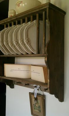 Plate rack with antique book of Psalms