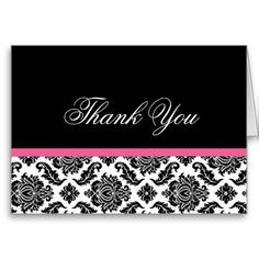Hot Pink Damask Thank you Notes Black and White Greeting Card