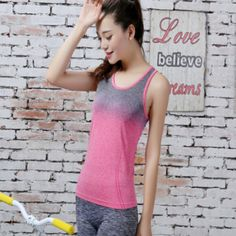 Womens Gradient Color Yoga Shirt is great wear for female wanting to exercise  yoga or running. Check more info about Womens Gradient Color Yoga Shirt  below. 864863188e12