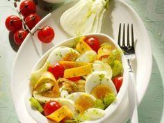 Salat mit Eier, Fenkel und Tomaten