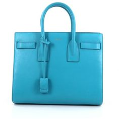 Pre-Owned Saint Laurent Sac De Jour Handbag Leather Small (2,070 CAD) ❤ liked on Polyvore featuring bags, handbags, tote bags, blue, man bag, blue leather tote, purse tote, blue leather purse and leather handbag tote