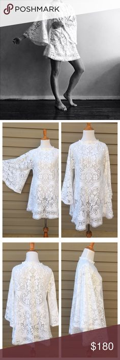 """Vintage angel sleeve sheet crochet lace dress Beautiful vintage 60's/70's handmade white sheer lace angel sleeve mini dress. Bust: 19"""" across. Total length: 32"""". Sleeve length: 21"""". Great condition. Eyelet lace trim around bottom hem and sleeve edges. Cinched neckline. Some areas were mended where fabric was weak. Best fits a small or medium! Tags: Free People, jen's pirate booty, Gypsy Spell Collective, Anthropologie Vintage Dresses Mini"""