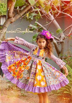Knit Top Rainbow Twirl Dress by maninisunshine on Etsy