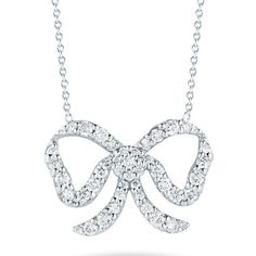 Roberto Coin Tiny Treasures White Gold Diamond Bow Pendant Necklace ($1,680) ❤ liked on Polyvore featuring jewelry, necklaces, diamond chain necklace, white gold diamond necklace, chain necklace, ribbon necklace and diamond jewelry