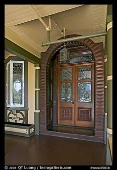 Main entrance doors, always locked. Winchester Mystery House, San Jose, California, USA (color)