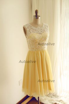 Yellow Chiffon lace Bridesmaid Dress Prom Dress Knee Length Short Dress with Sweetheart Neckline for Wedding by autoalive on Etsy https://www.etsy.com/listing/207239179/yellow-chiffon-lace-bridesmaid-dress