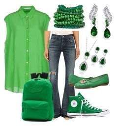 """""""Outfit : 103 GREEN"""" by ashcrazy ❤ liked on Polyvore featuring Acne Studios, A Gold E, Converse, Aerosoles, Vans, Rosantica and Bling Jewelry"""