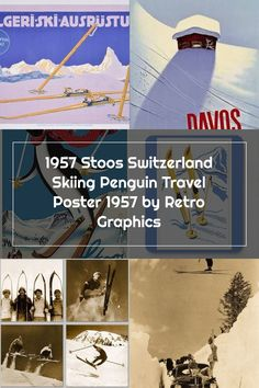 1957 Stoos Switzerland Skiing Penguin Travel Poster by Retro Graphics