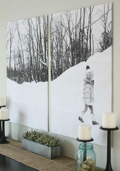 How do you decorate a large wall without painting? This roundup of DIY wall decor ideas for large walls has 60 ideas for large wall decor you can make yourself, on a budget, including using engineer prints for DIY wall decor. Art Mural Photo, Photo Wall Decor, Diy Wand, Tree Wall Art, Diy Wall Art, Diy Artwork, Artwork Ideas, Metal Artwork, Tree Artwork