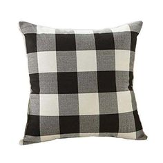 Black and White Plaid Pillow Cover