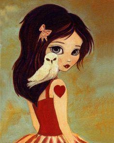 Owl, Girl, Children's Art, Girls Room Art, Poster, Girl Art Print, Art for Kids, Girls Decor, Art for Girls, Cute, Whimsical - Owlways 8x10 . $10.00, via Etsy.