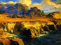 The Athenaeum - Gold-Rimmed Rocks and Sea (Franz Bischoff - )