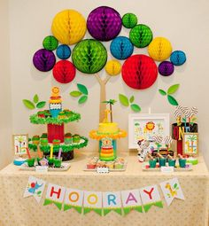 Modern Rainbow Safari 1st Birthday – Part 2 {Dessert Table}
