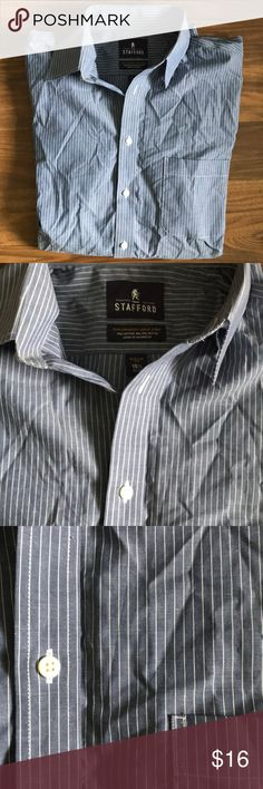 "Men's Stafford Performance Super Shirt Button-Down 60% Cotton 15 1/2"" Men's pinstripe button-down. Good condition!  Don't forget to bundle with other items in my closet for a discount! Stafford Shirts Dress Shirts"