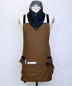 Sample Sale Basic Cross Back Utility Apron in Brown with Water Resist Lining for MAN