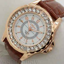 Classic Round Dial Crystal Lady Leather Quartz Wrist Watch Women's Gift ST Q1133