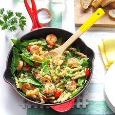 This pretty pasta is a family favorite —the kids love the light lemony flavor and I love that they devour the fresh veggies. You can use other types of pasta for variety, like bow ties or corkscrews. Summer Pasta Recipes, Shrimp Recipes, Dinner Recipes, Sauce Recipes, Holiday Recipes, Dinner Ideas, Shrimp Dishes, Pasta Dishes, Shrimp Pasta