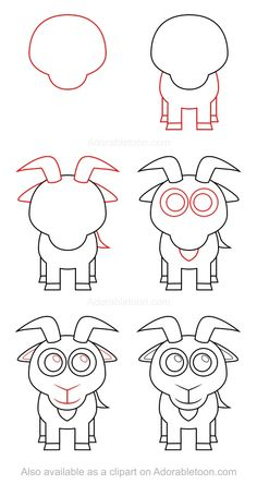 This fun drawing tutorial on how to draw a goat is featuring a simple character that is easy to duplicate even for young kids. Drawing Lessons For Kids, Art Drawings For Kids, Cartoon Drawings, Animal Drawings, Art Lessons, Art For Kids, Easy Dragon Drawings, Easy Drawings, Draw Tutorial