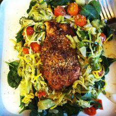 Day 18! Salmon, zucchini, yellow squash, broccoli, tomato on top of fresh spinach! Yum!