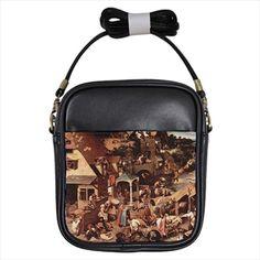 Dutch Proverbs Pieter Bruegel Leather Sling Bag & Women's Handbag