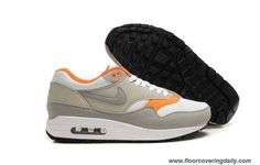 6e17793dc8e5 Mens Nike Air Max 1 White Medium Grey Neutral Grey Total Orange Shoes Nike  Free Run 3 -