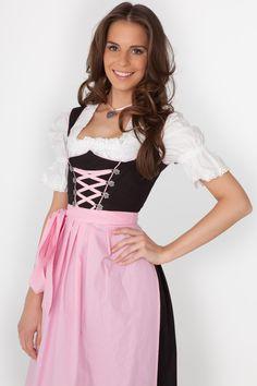 3-tlg., schwarze Dirndl-Kombi mit rosa Schürze | Dirndl.com