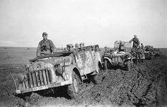 Steyr 1500 A Russia, summer 1942 - A FlaK unit Kfz.70 Steyr 1500A/01, followed by two Sd.Kfz.10 FlaK 38 vehicles in the Ukraine, 1942.