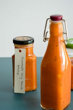bottled up homemade spicy tomato ketchup