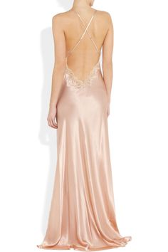 Jenny Packham | Lace-trimmed silk-satin chemise