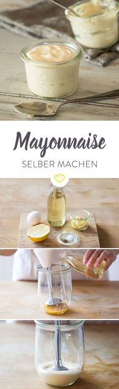 Mayonnaise selber machen - So klappt's garantiert It looks great in potato sala. - Mayonnaise selber machen – So klappt's garantiert It looks great in potato salad, alongside sw - Chutneys, Best Homemade Burgers, Healthy Burger Recipes, How To Make Mayonnaise, Homemade Mayonnaise, Law Carb, Potato Fritters, Diy Food, Food Porn