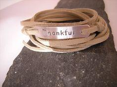 Thankful Bracelet, Gratitude Bracelet, stamped wrap bracelet, faux suede cord wrap bracelet, stamped heart, positive attitude