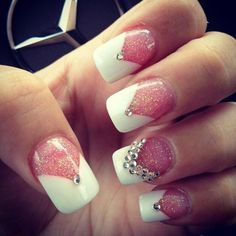 V french. Glittery sparkle pink and white nail design with rhinestones #french #bridal #wedding #pink and white #elegant #versatile #nail design