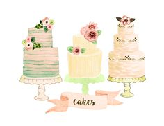 Cake clipart wedding clipart watercolor wedding от rosabebe