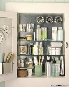 DIY - line your medicine cabinet with precut galvanized steel, use magnetic storage containers to maximize space.