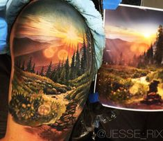 Sunset in the Forest tattoo by Jesse Rix
