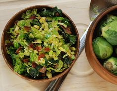 Bacon, Kale, Brussel Sprout Salad: This is Yum, yum, yummy. A regular in the Schmidt household. Add quinoa.