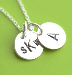 Tiny 3/8 Inch Hand Stamped - Personalized - Sterling Silver - Necklace with 2 Charms