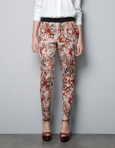 PRINTED TROUSERS WITH CONTRASTING WAIST - Trousers - Woman - ZARA United Kingdom