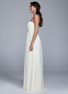 81a0d25b66 Strapless Long Chiffon Dress with Ruched Bodice - David s Bridal