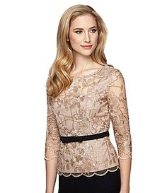 Alex Evenings 34 Illusion Sleeve Scallop Detail Stretch Bow Top #Dillards