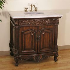 Legion Furniture Bathroom Vanity, Antique Brown.