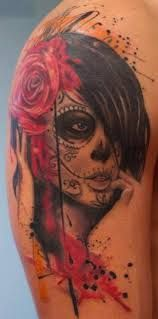 watercolor sugar skull tattoo - Google Search