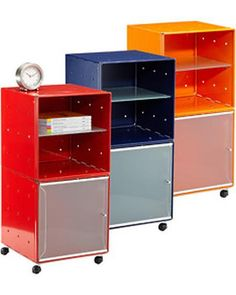 These bedside tables are great for kids' rooms, dorm rooms, or any spot in the house! Get them here: http://www.bhg.com/shop/qbo-enameled-qbo-steel-cube-bedside-table-p504a01c982a7e3b7aae73df4.html
