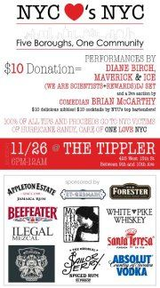 Drink for Sandy Relief // The Bartending, Food and Drinks Community Make a Difference