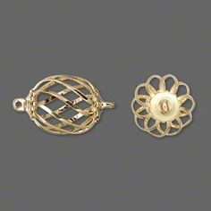 Link, gold-plated steel and brass, 15x12mm swirled oval cage. Sold per pkg of 4.