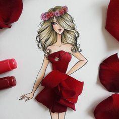 New Fashion Drawing Illustration Flower Dresses Ideas Fashion Drawings, Fashion Design Sketches, Floral Illustrations, Fashion Illustrations, Floral Fashion, Fashion Art, Arte Black, Modelos Fashion, Fashion Illustration Dresses