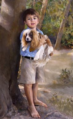 Wonderful full-length portrait of a boy with his dog by a Portraits, Inc. artist