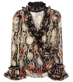 Roberto Cavalli - Brocade silk-blend blouse - Roberto Cavalli's glistening blouse has been crafted in Italy from a light-as-air silk-blend fabric. The diaphanous piece comes with flamboyant ruffled trims, while the printed base in enlivened by golden brocade details. Layer yours over a black camisole for opacity. seen @ www.mytheresa.com