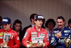 1991 Monaco GP Podium - Jean Alesi, Ferrari 3rd - Ayrton Senna, McLaren 1st - Nigel Mansell, Williams 2nd Formula 1, Honda, Gerhard Berger, Nigel Mansell, Monaco Grand Prix, F1 Drivers, Ferrari, Racing, People