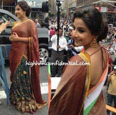 Balan served as Grand Marshall at the India Day parade in Manhattan and for the appearance wore an Asmita Marwa kalamkari lehenga that was quite a welcome change. Also a welcome change, the hair do. Indian Fashion Dresses, Fashion Wear, Indian Outfits, Indian Clothes, Womens Fashion, Bollywood Dress, Bollywood Actors, Vidya Balan Hot, Indian Celebrities